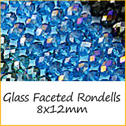 Glass Faceted Rondells 8x12mm