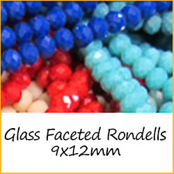 Glass Faceted Rondells 9x12mm