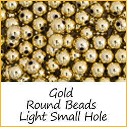 Gold Round Beads Light Weight Small Hole