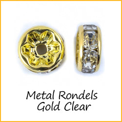 Metal Rondels Gold Clear