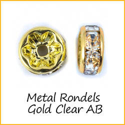 Metal Rondels Gold Clear AB