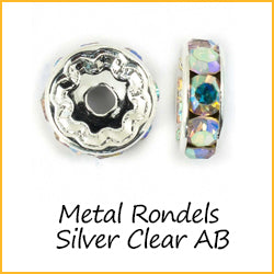 Metal Rondels Silver Clear AB