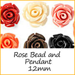 Rose Bead and Pendant 12mm