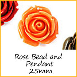 Rose Bead and Pendant 25mm