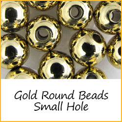 Gold Round Beads Small Hole