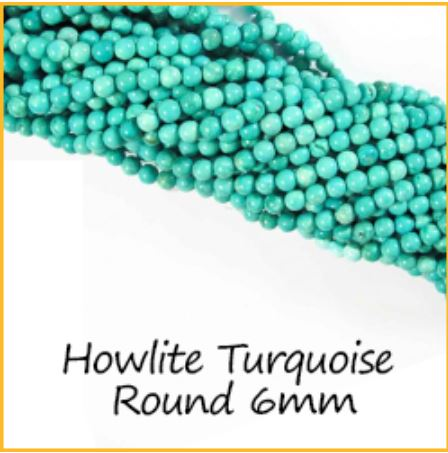 Howlite Turquoise Round 6mm