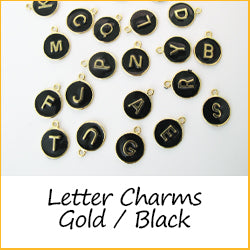 Letter Charms Gold Black