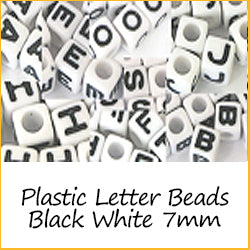 Plastic Letter and number Beads black white 7mm
