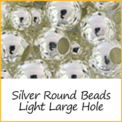Silver Round Beads Light Weight Large Hole