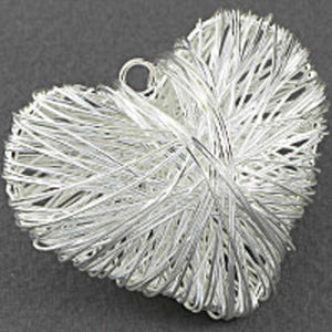 metal 50mm puffy heart cage silver 2pcs