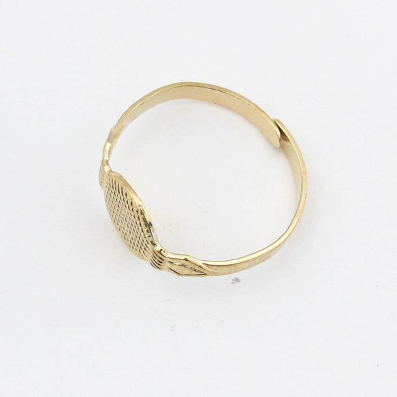 Metal 10mm plate finger ring gld 6p