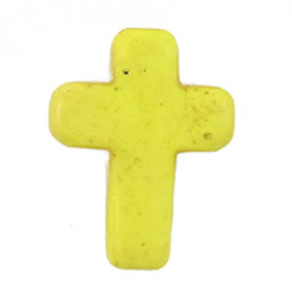 semi prec 15x12mm cross howlite yel 6pcs
