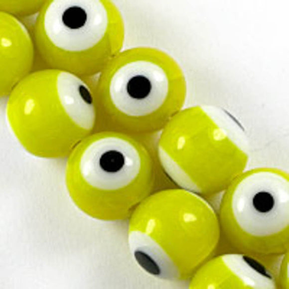 Cg 10mm rnd eye bead yello/whi 40pcs