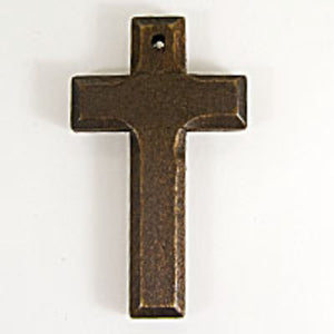 Wooden 65x38mm bevelled cross brown 3pc