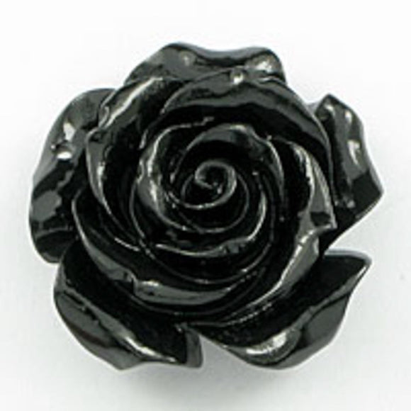 Rs 25mm Euro rose pendant black 1pcs