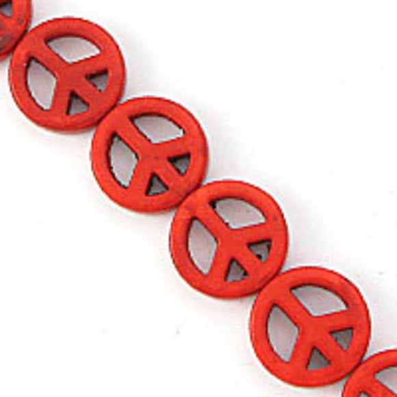 Semi prec 15mm peace howlit red 27pcs