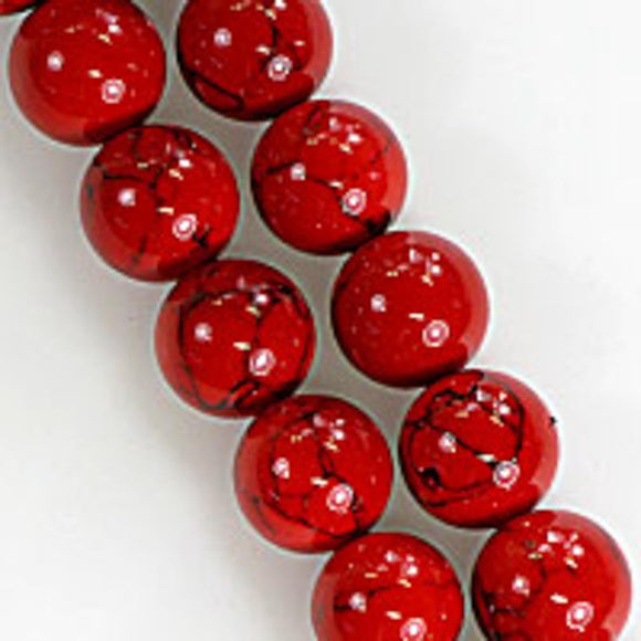 Semi prec 12mm rnd hlite red/blk 35pcs