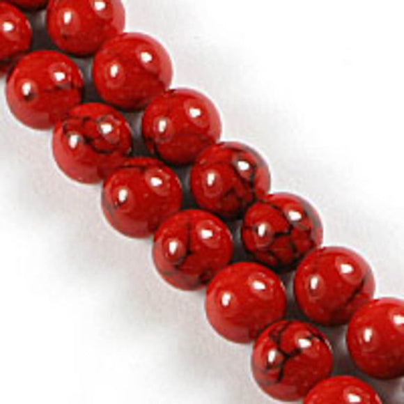 Semi prec 6mm rnd hlite red/blk 65pcs