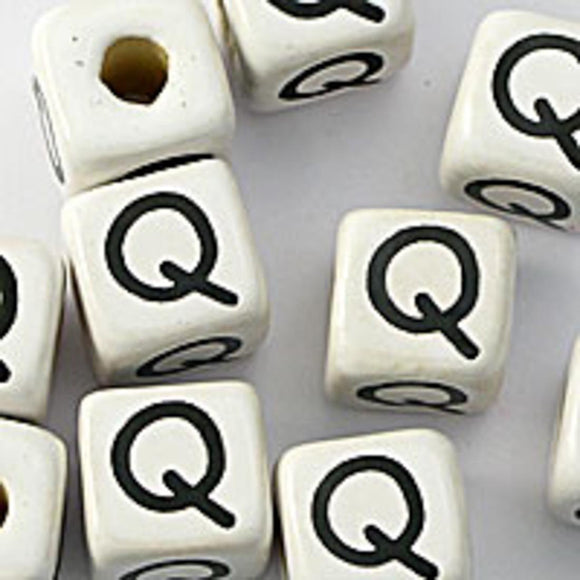 Cm 12mm letter white/black Q 10pcs
