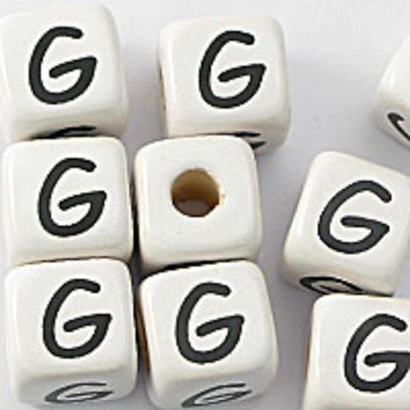 Cm 12mm letter white/black G 50pcs