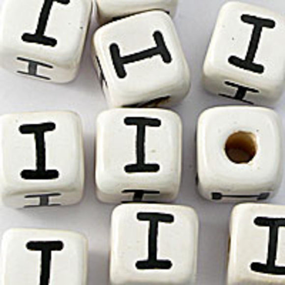 Cm 12mm letter white/black I 50pcs