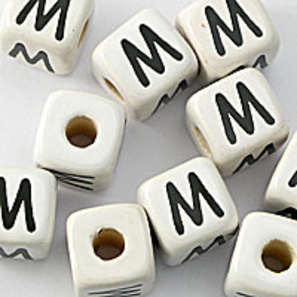 Cm 12mm letter white/black M 50pcs