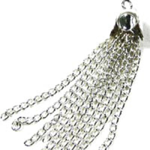 Metal 35x8mm tassel NF silver 4pcs