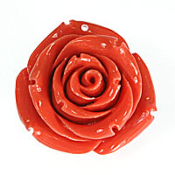 Rs 35mm English rose pendant coral 1pc