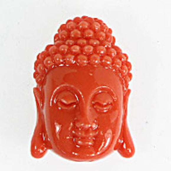 Resin 28x18 buddha head v hole coral 1pc