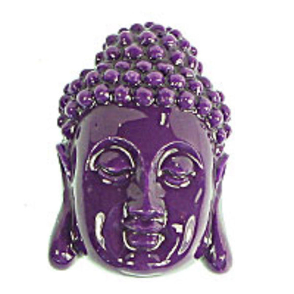 Resin 28x18 buddha head v hole purpl 1pc