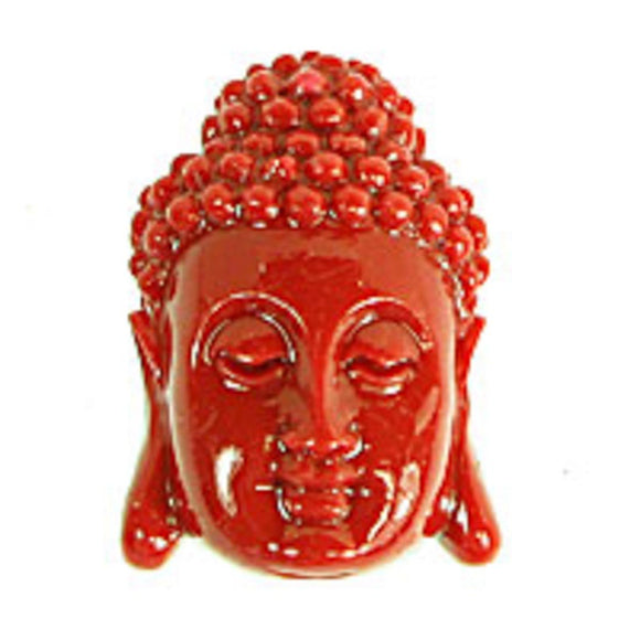 Resin 28x18 buddha head v hole red 1pc