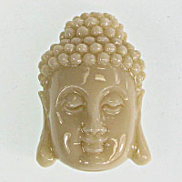 Resin 28x18 buddha head v hole beige 1pc