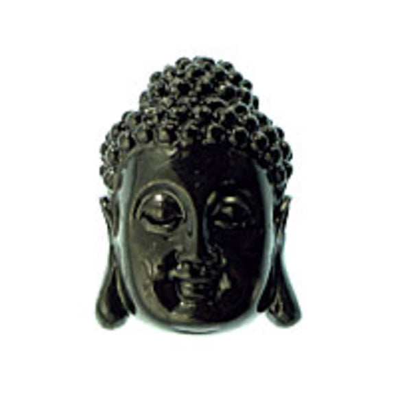 Resin 28x18 buddha head v hole black 1pc
