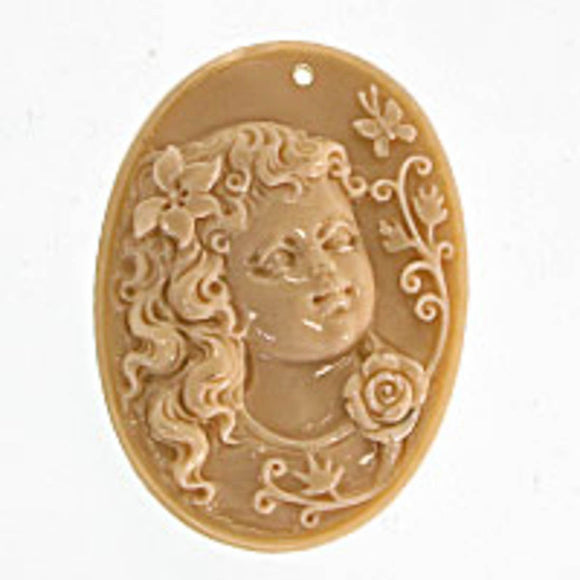 Rs 50x37mm oval cameo pndt beige 1pc