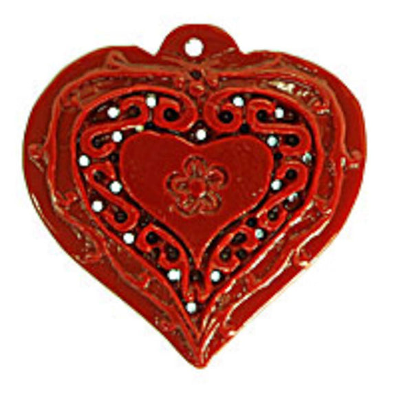 Rs 49x48mm heart pendant red 1pc