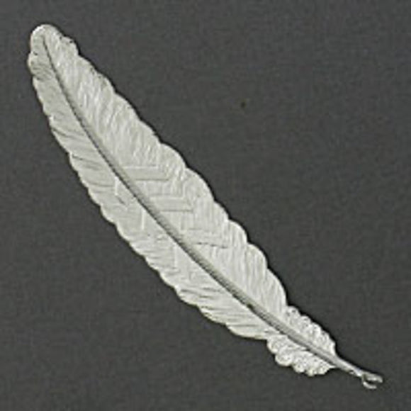 Metal 115x22mm feather NF silver 4pcs