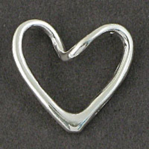 Metal 18mm heart hollow twist NF sil 6p