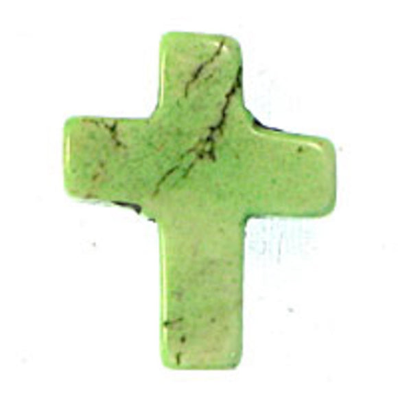 Semi prec 15x12mm cross howlite mint 6pc