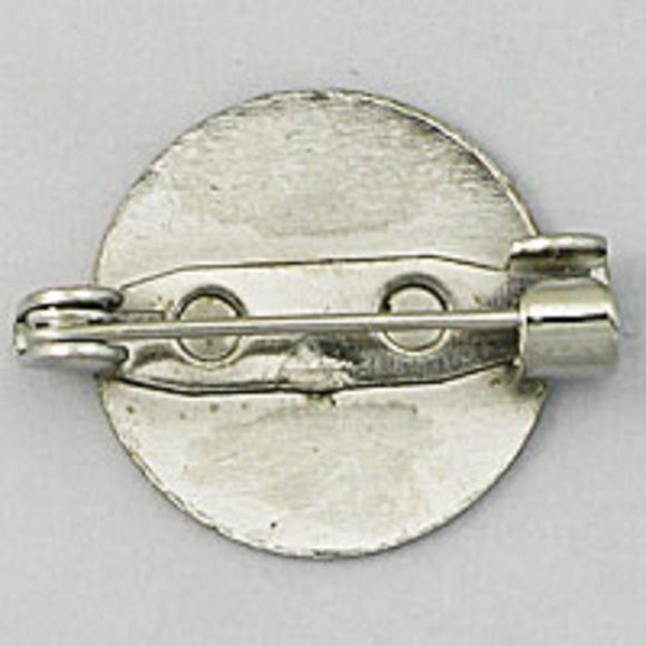 Metal 20mm rnd brooch back nkl 100p