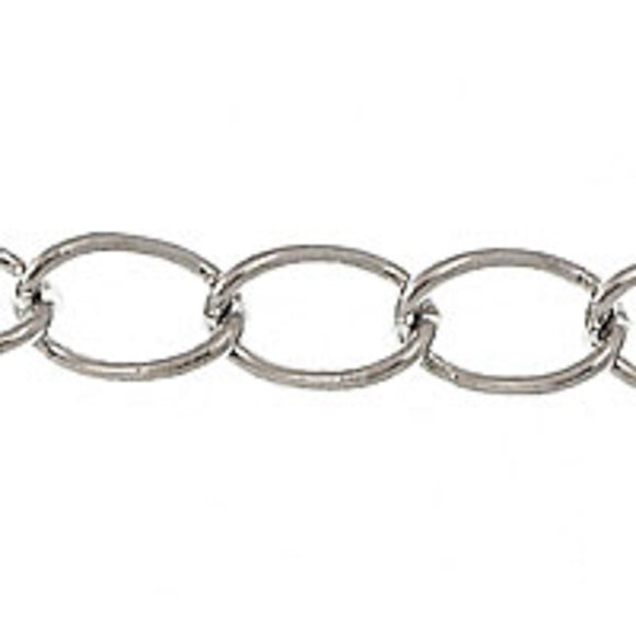 Metal chain 5x4.5mm curb link nkl 2mtr