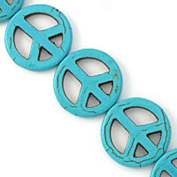 Semi prec 25mm peace turqu 16pcs