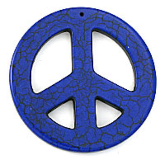 Semi prec 55mm peace faux howlite roy 2p