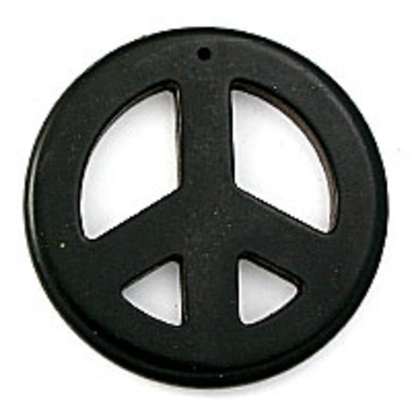 Semi prec 55mm peace faux howlite blk 2p
