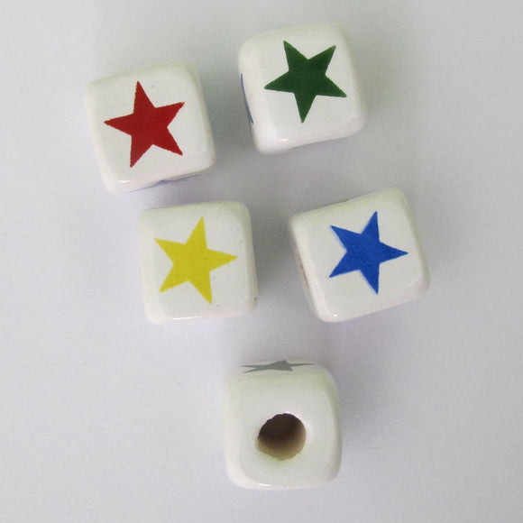 Cm 12mm cube multi col stars 10pcs