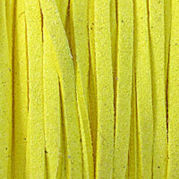 Faux suede 3mm flat yellow 16+metres