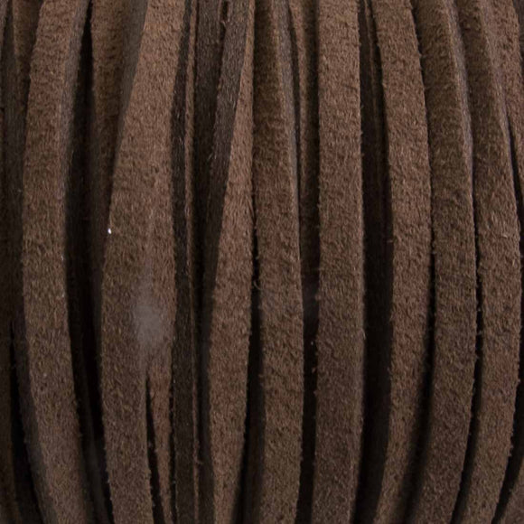 Faux suede 3mm flat chocolate 16+metres