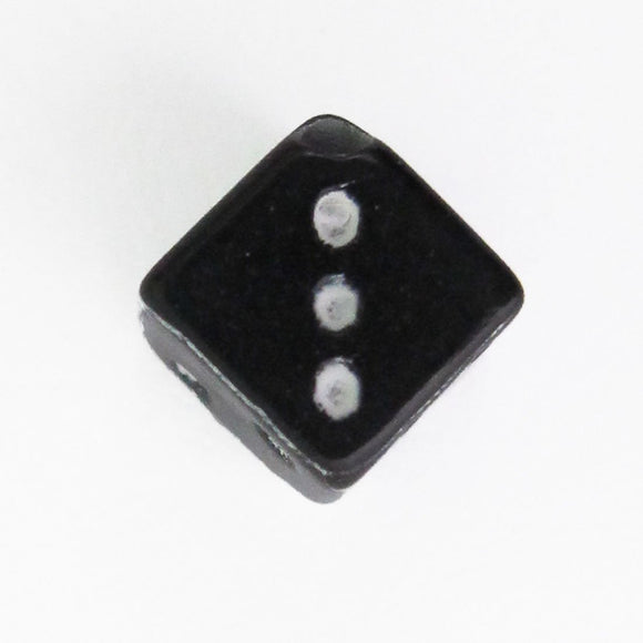 Plas 6mm cube dice white on black 40pcs