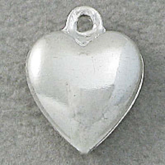 Metal 12x4mm heart puffy silver 6pcs