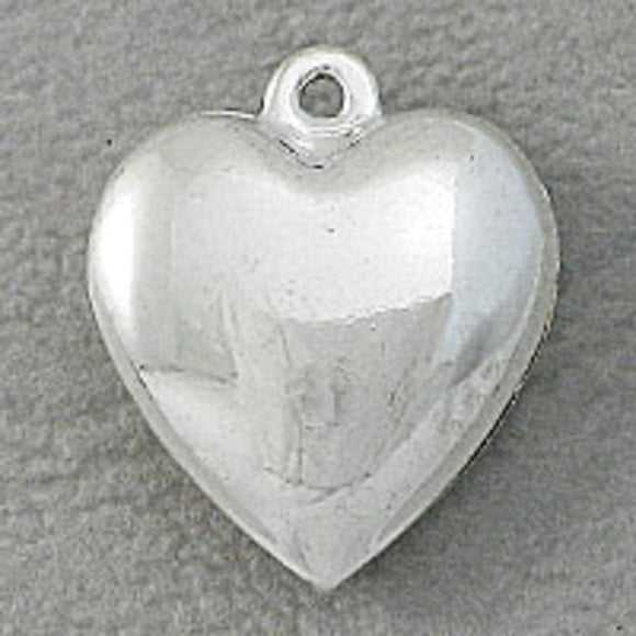 Metal 16x5mm heart puffy silver 6pcs
