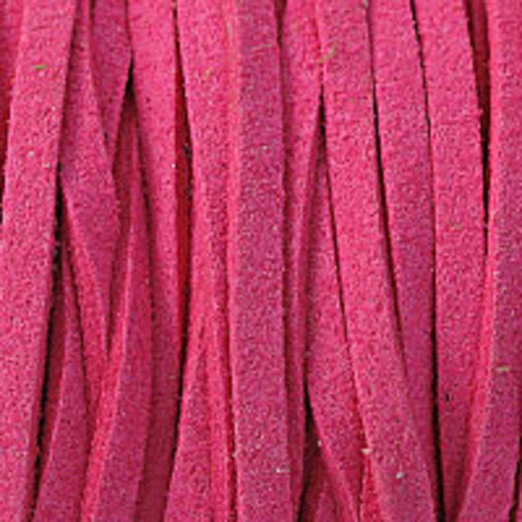 Faux suede 3mm flat hot pink 80metres